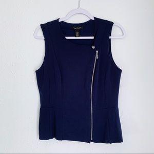 WHBM Navy Blue Moto zip up sleeveless vest 8